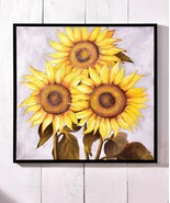 """40"""" XLarge Sunflowers Canvas Oil Print Stretched Canvas Yellow Framed Wa... - $326.69"""