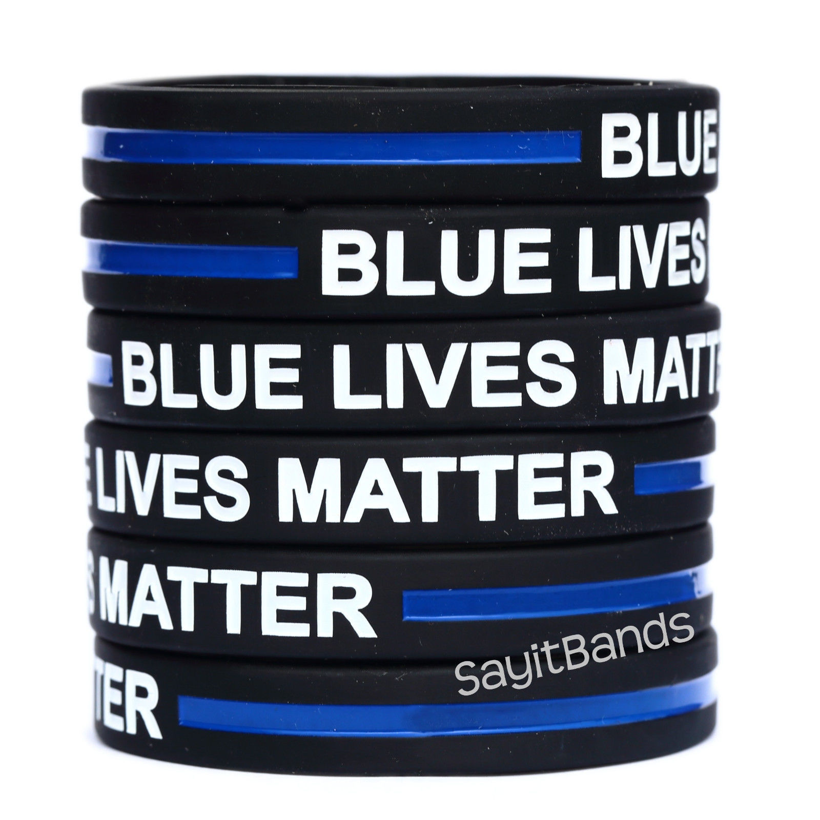 Primary image for 5 BLUE LIVES MATTER Thin Blue Line Wristband Bracelet Police Support Adult/Child