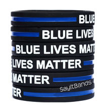 5 BLUE LIVES MATTER Thin Blue Line Wristband Bracelet Police Support Adu... - $9.88