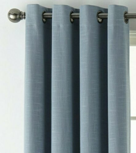 Primary image for (1) JC PENNEY JCP HOME Holland Linen BLUE 100% BLACKOUT Grommet 50 x 84 Curtain