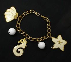 Vintage Napier Charm Bracelet - Gold Tone & Enamel - Sea Horse Starfish ... - $34.60