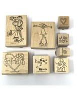 STAMPIN' UP! Girlfriends 8 PC Wood Rubber Stamps Set 2002 - $15.83