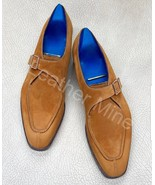 Handmade Cognac Suede Leather Monk Formal Custom Made Dress Shoes For Men - $159.99+