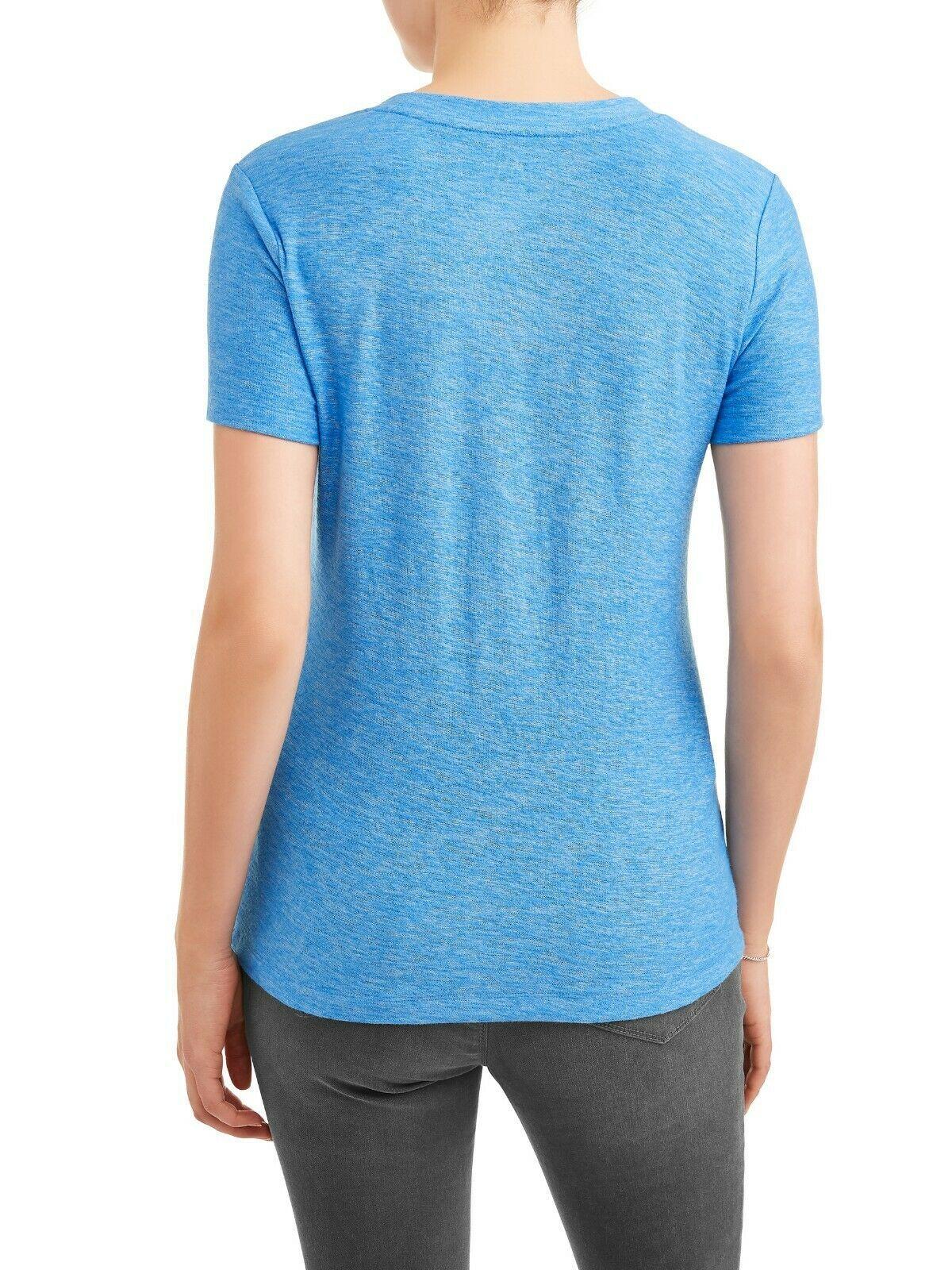 Time & Tru Women's Crew Neck T Shirt Blue XL (16-18) Short Sleeve Regular Fit image 2