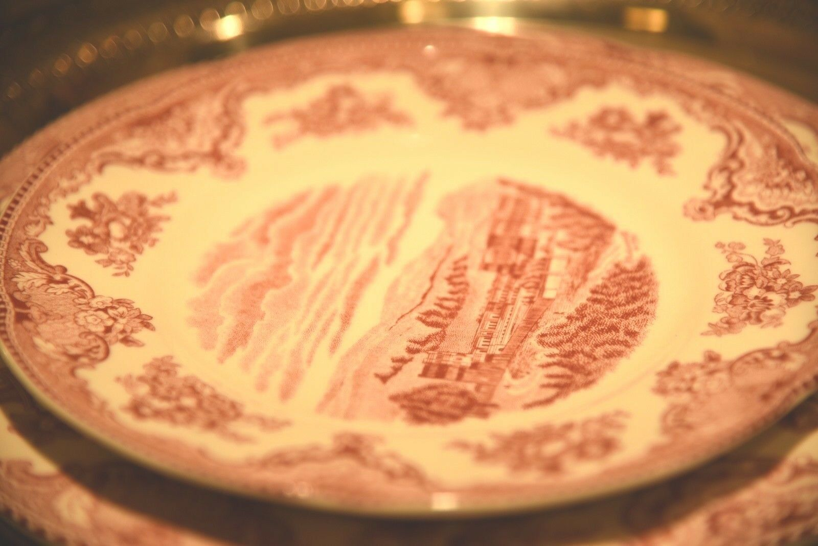 """JOHNSON BROTHERS OLD BRITAIN CASTLES PINK TOILE SALAD PLATE 8"""" CHATSWORTH 1792 image 3"""