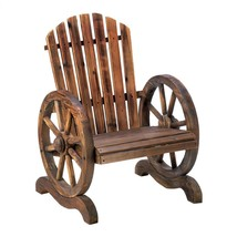 Small Outdoor Chair, Wagon Wheel Accent Wood Rustic Lawn Patio Adirondac... - $167.09