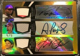 2009 TOPPS TRIPLE THREADS GOLD #9/9 AUTO Patch PUJOLS CABRERA HOWARD B17 image 2