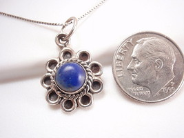 Lapis 925 Sterling Silver Pendant with Rope Style Accent Perimeter Blue New - $17.77