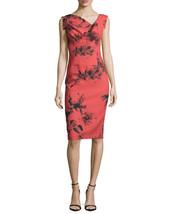 Black Halo Jackie O. Cap Sleeve Print Crepe Stretch Sheath Dress in Lite... - $155.19