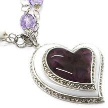 Silver 925 Necklace, Amethyst, Agate White, Heart Pendant, Chain Two Row image 3