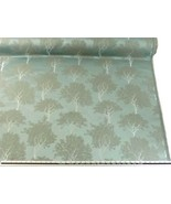Slub Effect Duck Egg Blue Silver Embroidered Trees Fabric Material 2 Sizes - $10.01+