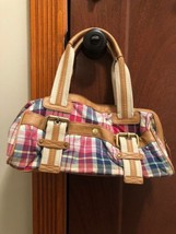 Tommy Hilfiger Paid Pink Blue Green Faux Tan Leather Accents Handbag - $14.84