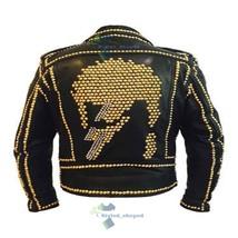 Handmade Men's Biker Black Punk Monster Skull Golden Studded Real Leather Jacket image 3