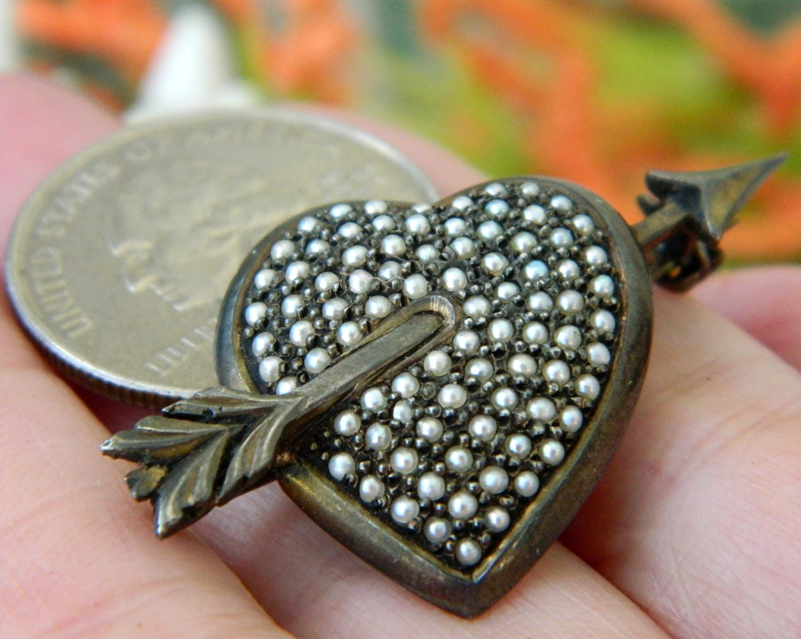 Sterling Silver Heart Seed Pearls Vintage Germany Pin Brooch
