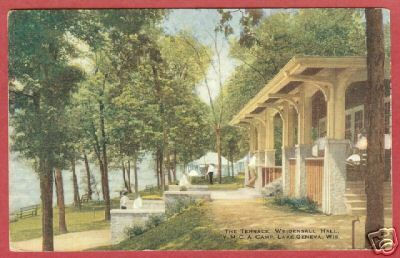 Lake Geneva WI Postcard YMCA Camp Weidensall Hall BJs
