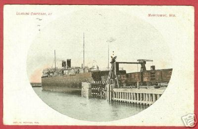 Manitowoc WI Postcard Carferry Train Cars RR 1907 BJs