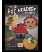 Vintage Crochet Pot Holders Oven Mitts Patterns Dog Owl Cats - $9.99
