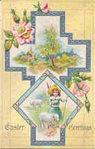 Easter Greetings Vintage Post Card - $3.00