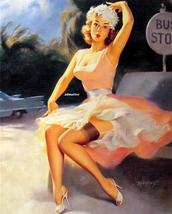 Bill Medcalf  Sexy Pin-up girl Poster waiting Bus Stop - $6.82