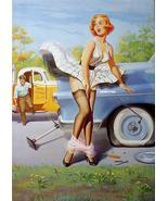 Art Frahm Pinup Girl Poster Dropped Panties! - $9.64
