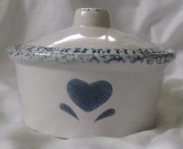 Lillian Vernon Individual Casserole Dish with Lid Blue Spongeware Heart ... - $19.99