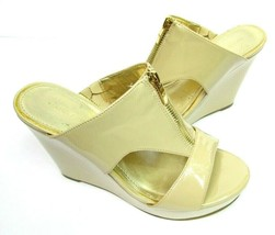 Marc Fisher Womens 7.5M Sandals Shoes Nude Tan Patent Wedge Slides Wedding Party - $40.00