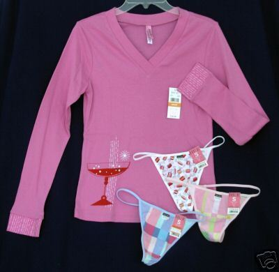 Primary image for New 4pc lot HUE sz SM Pajama Sleep Top teeshirt 3 G-String Thong pink Panties S