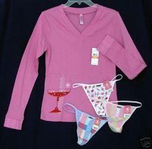 New 4pc lot HUE sz SM Pajama Sleep Top teeshirt 3 G-String Thong pink Pa... - $22.50