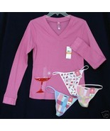 New lot HUE sz SM Pajama Lounge Sleep Top teeshirt 3 G-String Panties S - $22.00
