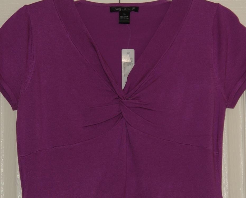 August Silk Purple Blouse size X Large ~ New ~