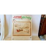 Sleigh Ride In The Snow Christmas Needlepoint Kit #2085 Sunset Stitchery... - $37.13