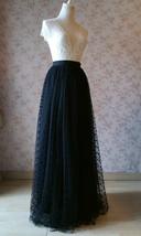 Black Polka Dot Tulle Skirt Black Long Tulle Skirts Outfit Black Maxi Skirt WT28 image 6