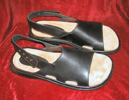 NIB Mens Donald Pliner Black Sandals Leather 12 M Italy - $84.99