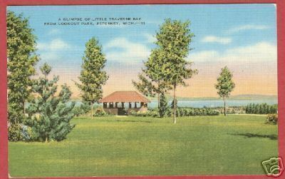 Petoskey MI Lookout Pk Little Traverse Bay Postcard BJs