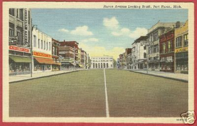 Primary image for Port Huron Mi Huron Ave south Stores Linen Postcard BJs