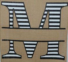 Kate Winston Brand Brown Burlap Monogram Black White M Garden Flag image 3