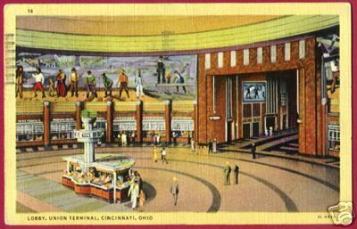 Primary image for CINCINNATI OHIO Union Terminal Lobby 1941 LINEN OH