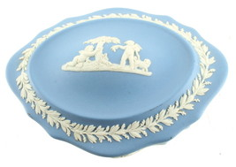 Vintage Wedgwood Jasperware Lidded Trinket Box Blue Cherubs Chariot - $53.99