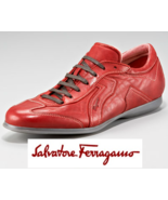 $455 Salvatore Ferragamo AUTHENTIC LOGO RED LEATHER SNEAKERS SHOES BRAND NEW 11D - $299.00