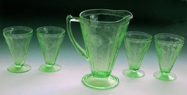 Vaseline Depression Glass Pitcher 4 Glasses Leaf Vine Pattern  Water Tea... - $97.02