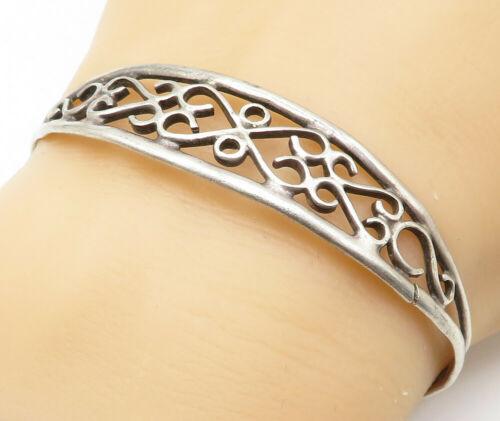 OTT NAVAJO 925 Silver - Vintage Love Heart Swirl Ribbed Cuff Bracelet - B4969