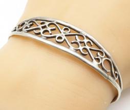 OTT NAVAJO 925 Silver - Vintage Love Heart Swirl Ribbed Cuff Bracelet - ... - $33.76