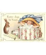 Vintage Easter Postcard 1918 Bunnies Child & Easter Bonnet - $5.50