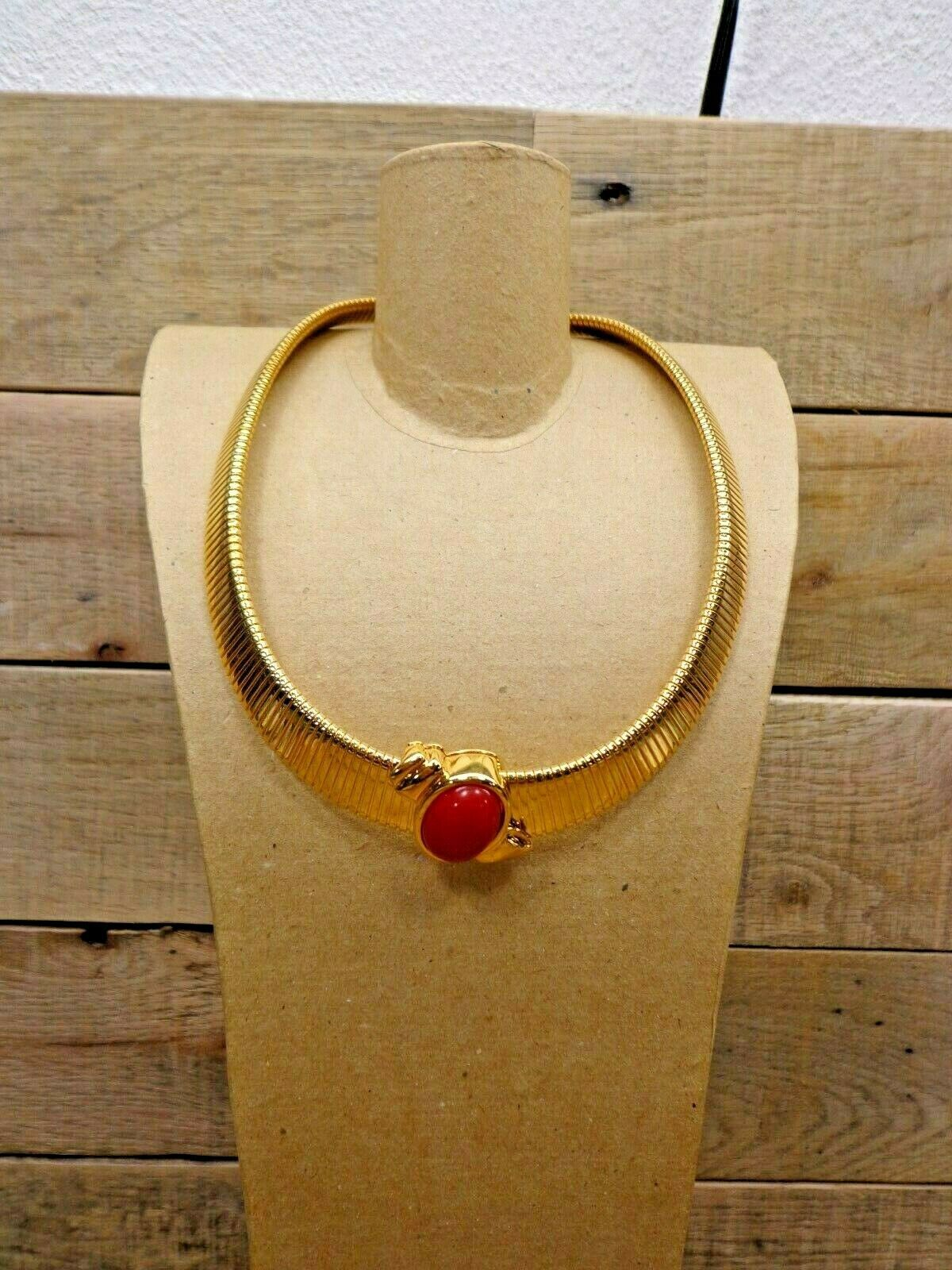 Monet Pendant Goldtone Choker Necklace Jewelry With Red Accent - $44.50