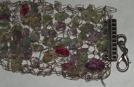 Handmade Bracelet Metal Wire Woven Knitted Multicolored Gemstones image 4