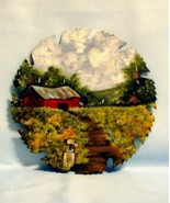Hand Painted Saw Blade Summer Farm Scene Custom Order Wall Decor - $34.00