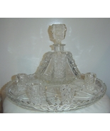 American Brilliant Crystal Decanter Cordial Glasses and Tray - €715,11 EUR