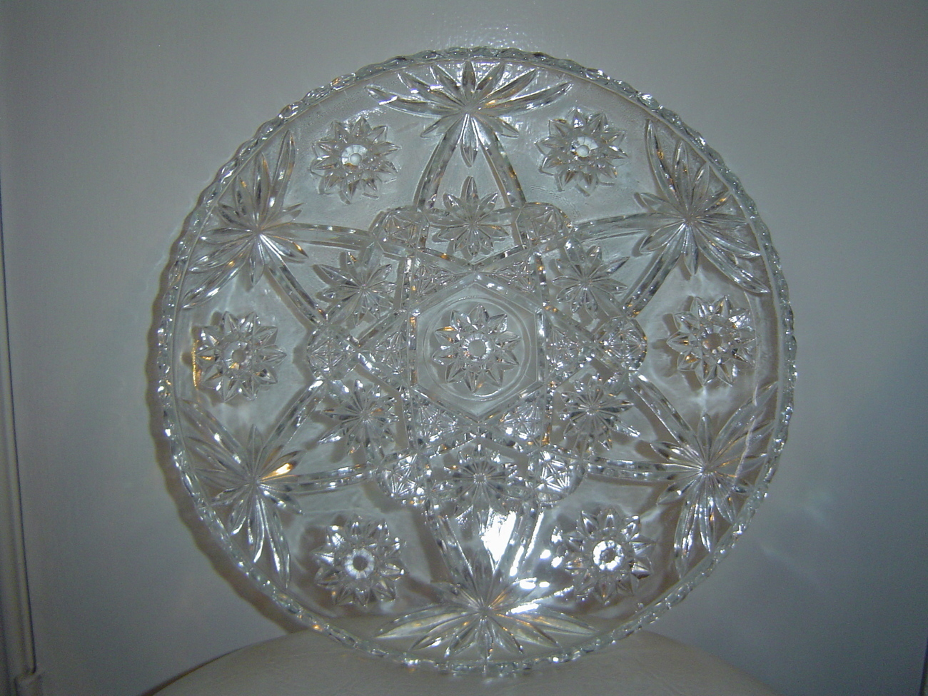 American Brilliant Crystal Decanter Cordial Glasses and Tray