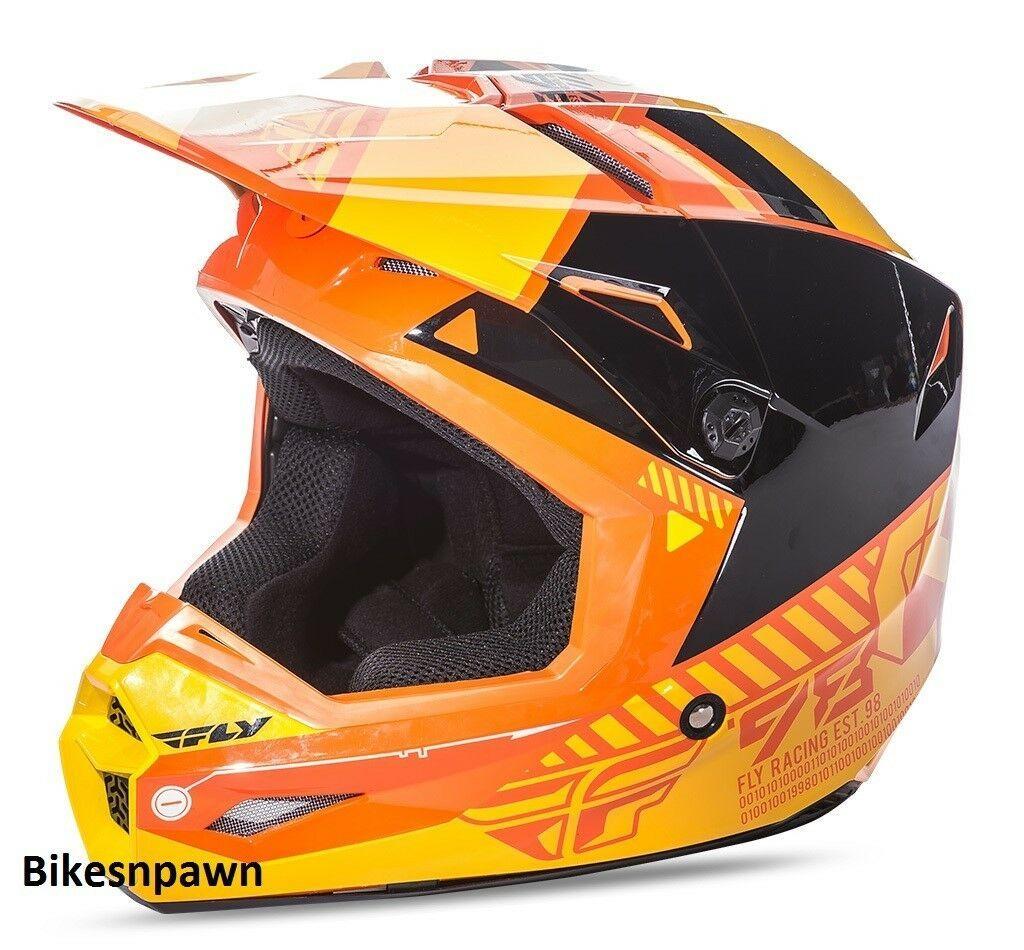 New XS Adult Fly Racing Elite Onset Motocross Off Road Helmet Orange/Yellow
