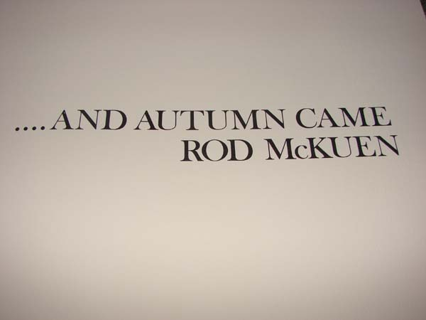 Rod McKuen Signed & #'d And Autumn Came